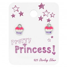 Cupcake Ear Studs With Crystal On Princess Card - 925 Sterling Silver Jewellery sets for kids A4S34113