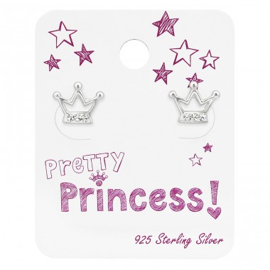 Crown Ear Studs With Crystal On Princess Cards - 925 Sterling Silver Jewellery sets for kids A4S34114
