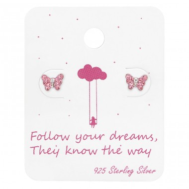 Butterfly Ear Studs With Crystal On Cute Card - 925 Sterling Silver Jewellery sets for kids A4S34117