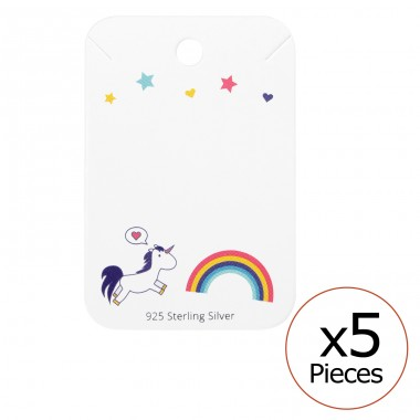 Unicorn And Rainbow Ear Studs Cards - Paper Sets Necklace with Earrings A4S35834