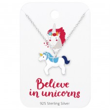 Unicorn Necklace On Believe In Unicorns Card - 925 Sterling Silver Sets Necklace with Earrings A4S35916