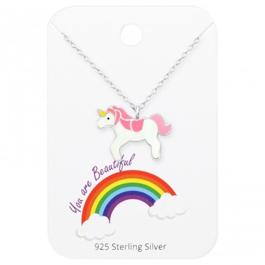 Unicorn Necklace On You Are Beautiful Card - 925 Sterling Silver Sets Necklace with Earrings A4S35921