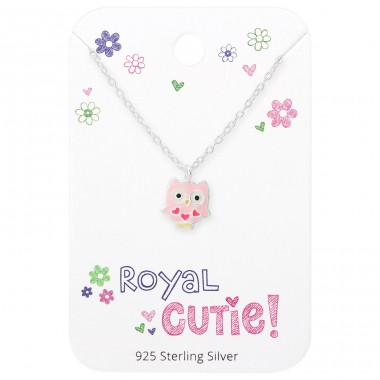 Owl Necklace On Royal Cutie Card - 925 Sterling Silver Sets Necklace with Earrings A4S35923