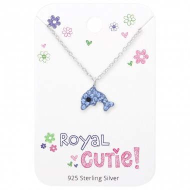 Dolphin Necklace On Royal Cutie Card - 925 Sterling Silver Sets Necklace with Earrings A4S35924