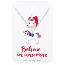 Unicorn Necklace On Believe In Unicorns Card - 925 Sterling Silver Sets Necklace with Earrings A4S35926