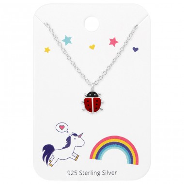 Ladybug Necklace On Unicorns And Rainbow Card - 925 Sterling Silver Sets Necklace with Earrings A4S35928