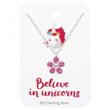 Flower Necklace On Believe In Unicorns Card - 925 Sterling Silver Jewellery sets for kids A4S36099