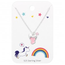 Ballet Shoes Necklace On Unicorns Swarovski  And Rainbow Card - 925 Sterling Silver Jewellery sets for kids A4S36100