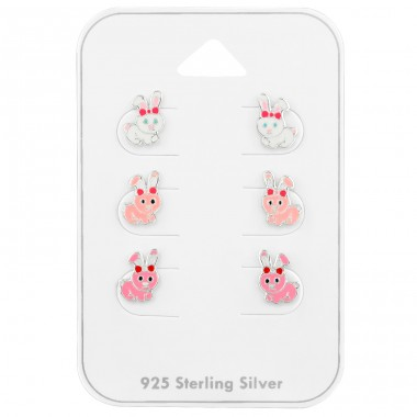 Rabbit Ear Studs on card - 925 Sterling Silver Jewellery Sets For Kids A4S39673
