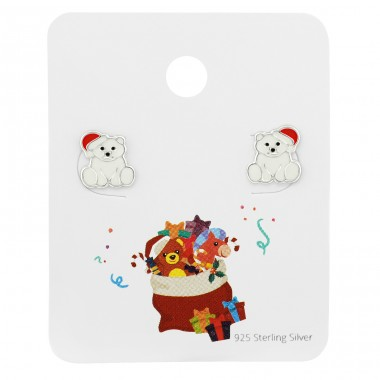 Santa Polar Bear ear studs on card - 925 Sterling Silver Jewellery Sets For Kids A4S39675