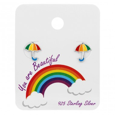 Umbrella ear studs on card - 925 Sterling Silver Jewellery Sets For Kids A4S39678
