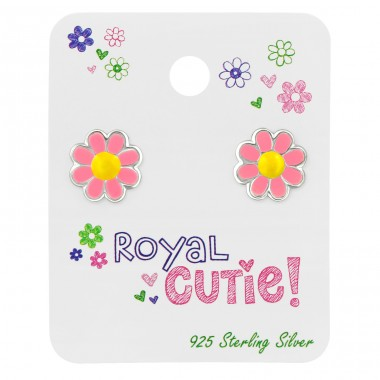 Flower ear studs on card - 925 Sterling Silver Jewellery Sets For Kids A4S39679