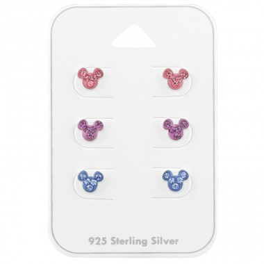 Mouse ear studs on card - 925 Sterling Silver Jewellery Sets For Kids A4S39680