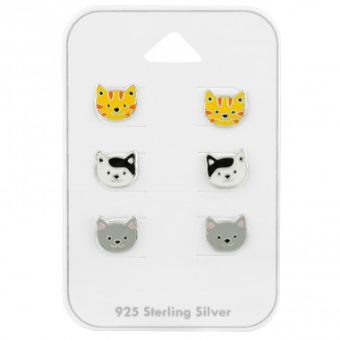 3 Cats ear studs on card - 925 Sterling Silver Jewellery Sets For Kids A4S39681