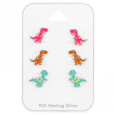 Dinosaurs ear studs on card - 925 Sterling Silver Jewellery Sets For Kids A4S39682