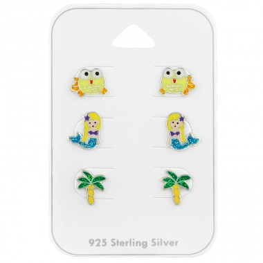 Mermaid & Sea ear studs on card - 925 Sterling Silver Jewellery Sets For Kids A4S39683
