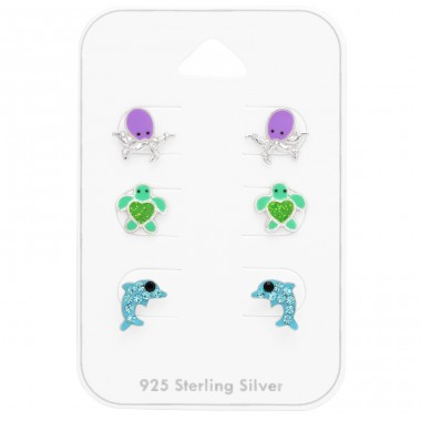 Octopus, Turtle, Dolphin on card - 925 Sterling Silver Jewellery Sets For Kids A4S41477