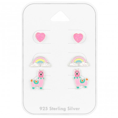 Heart Rainbow Lama on card - 925 Sterling Silver Jewellery Sets For Kids A4S41478