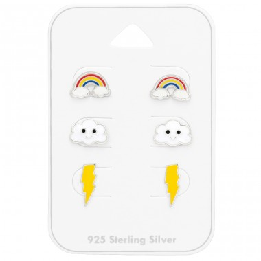 Kids lightening cloud and rainbow on card - 925 Sterling Silver Jewellery Sets For Kids A4S41482