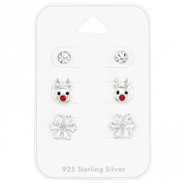 Crystal Christmas on card - 925 Sterling Silver Jewellery Sets For Kids A4S41483