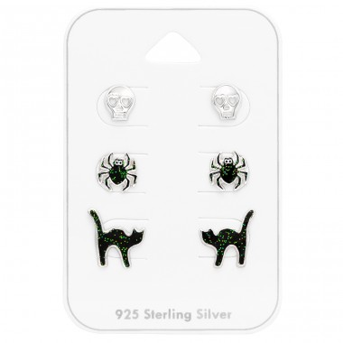 Halloween spider cats and skull on card - 925 Sterling Silver Jewellery Sets For Kids A4S41486