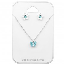 Butterfly and flowers - 925 Sterling Silver Jewellery Sets For Kids A4S33934