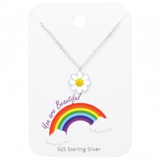 Flower Necklace On You Are Beautiful Card - 925 Sterling Silver Sets Necklace with Earrings A4S35922