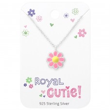 Flower Necklace On Royal Cutie Card - 925 Sterling Silver Sets Necklace with Earrings A4S35925