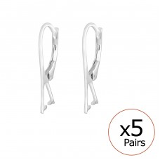 Silver Lever Back Earrings For Beads - 925 Sterling Silver Silver jewelry accessories A4S35104
