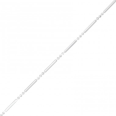 Bar Chain - 925 Sterling Silver Silver Heavy A4S39901