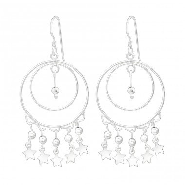 Hanging Star - 925 Sterling Silver Silver Heavy A4S39904
