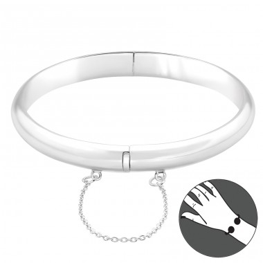 Plain with security lock - 925 Sterling Silver Silver Heavy A4S41767