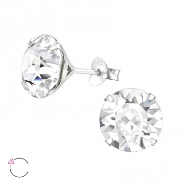 Round - 925 Sterling Silver LaCrystale Silver Ear Studs A4S29478