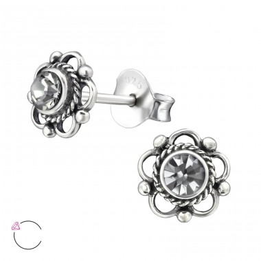 Flower  With Genuine European Crystals - 925 Sterling Silver Lacrystale Silver Ear Studs A4S30072