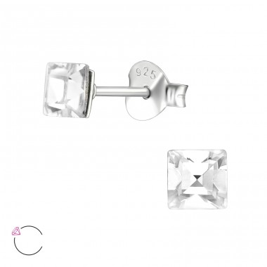 Square  With Genuine European Crystals - 925 Sterling Silver Lacrystale Silver Ear Studs A4S39645