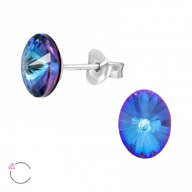 Geometric oval With Swarovski® Crystals - 925 Sterling Silver Swarovski Silver Ear Studs A4S41088