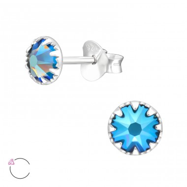 Round - 925 Sterling Silver LaCrystale Silver Ear Studs A4S42398