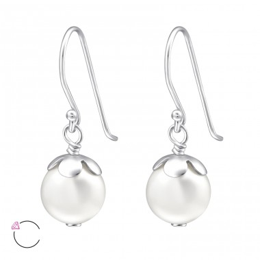 Round - 925 Sterling Silver LaCrystale Silver Earrings A4S24230