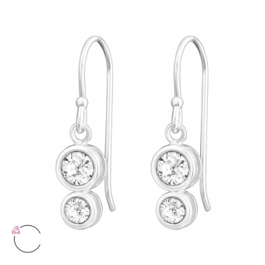 Double Round - 925 Sterling Silver Swarovski Silver Earrings A4S38361
