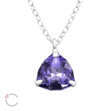 Purple Velvet Triangle crystal With Swarovski® Crystals - 925 Sterling Silver Swarovski Silver Necklaces A4S41099