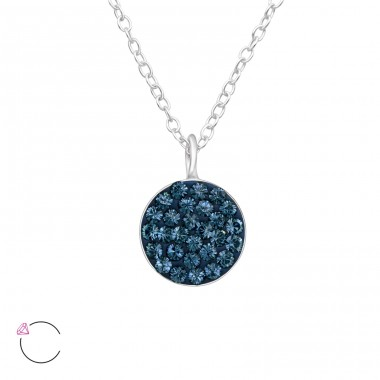 Round - 925 Sterling Silver Swarovski Silver Necklaces A4S41447