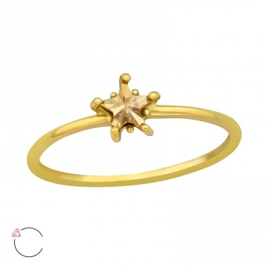 Golden Star With Genuine European Crystals - 925 Sterling Silver Lacrystale Rings A4S42602