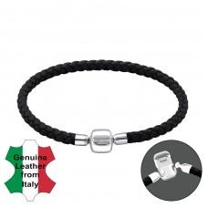 Plain - 925 Sterling Silver + Leather Cord Bracelet for silver beads A4S22502