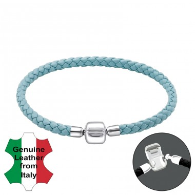 Plain - Leather Cord + 925 Sterling Silver Bracelet for silver beads A4S22505