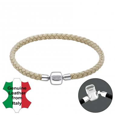 Plain - 925 Sterling Silver + Leather Cord Bracelet for silver beads A4S22507
