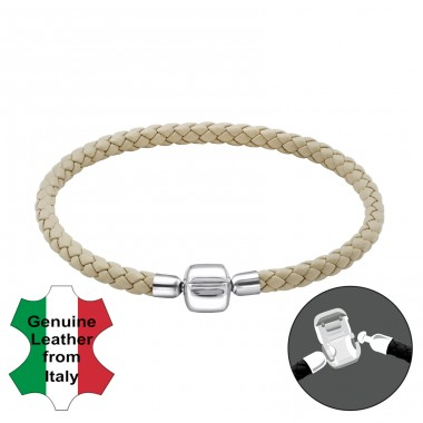 Plain - Leather Cord + 925 Sterling Silver Bracelet for silver beads A4S22507