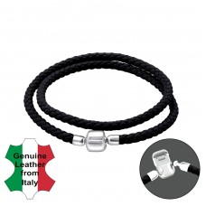 Plain - Leather Cord + 925 Sterling Silver Bracelet for silver beads A4S22508
