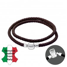 Plain - 925 Sterling Silver + Leather Cord Bracelet for silver beads A4S22509