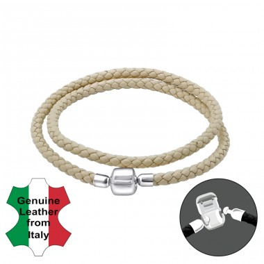 Plain - 925 Sterling Silver + Leather Cord Bracelet for silver beads A4S22513
