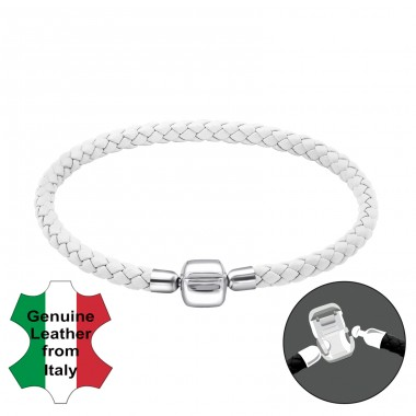 White - Leather Cord + 925 Sterling Silver Bracelet for silver beads A4S25120